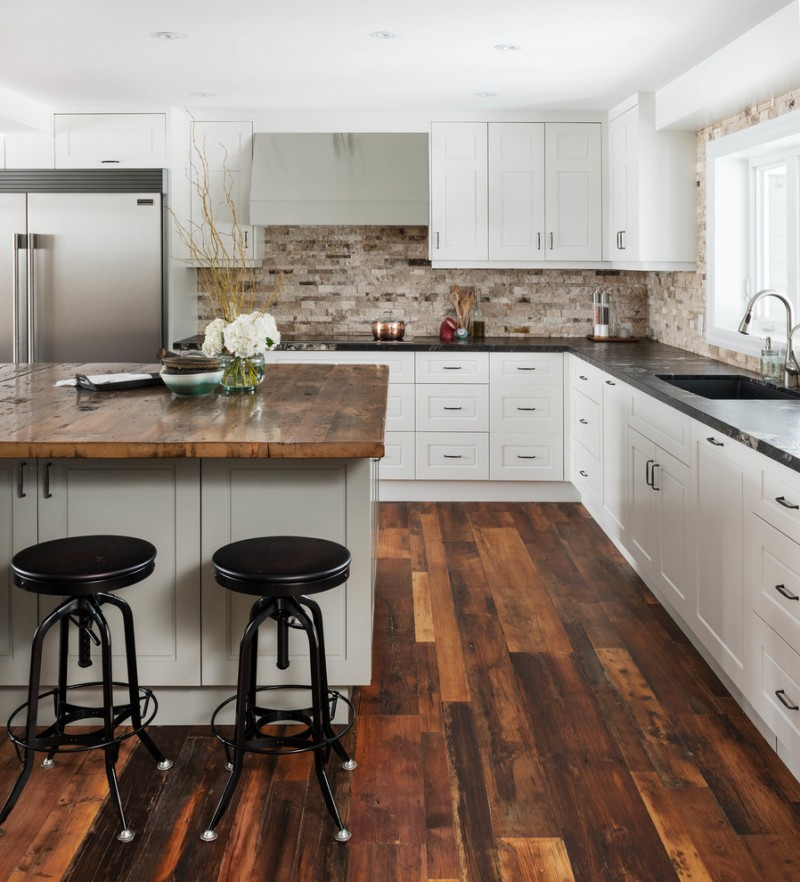 modern white rustic open kitchen idea black marble kitchen countertop dark wood top kitchen island black bar stools with round black top stone backsplash white kitchen cabinetry