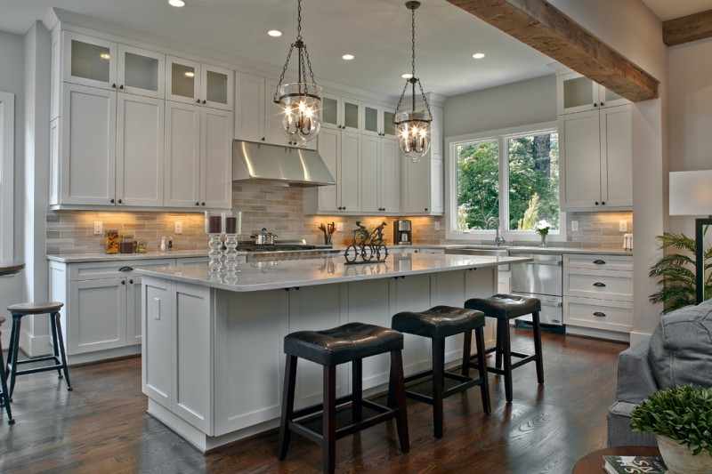 design of open kitchen. new mediterranean open kitchen design with mini bar white countertop  prep table cabinetry darkwood 30 Best Small Open Kitchen Designs that Optimize Both Efficiency