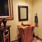 Rustic Vanity Idea In Log Shape Pedestal Sink Wood Top And Black Finishing Vanity Mirror