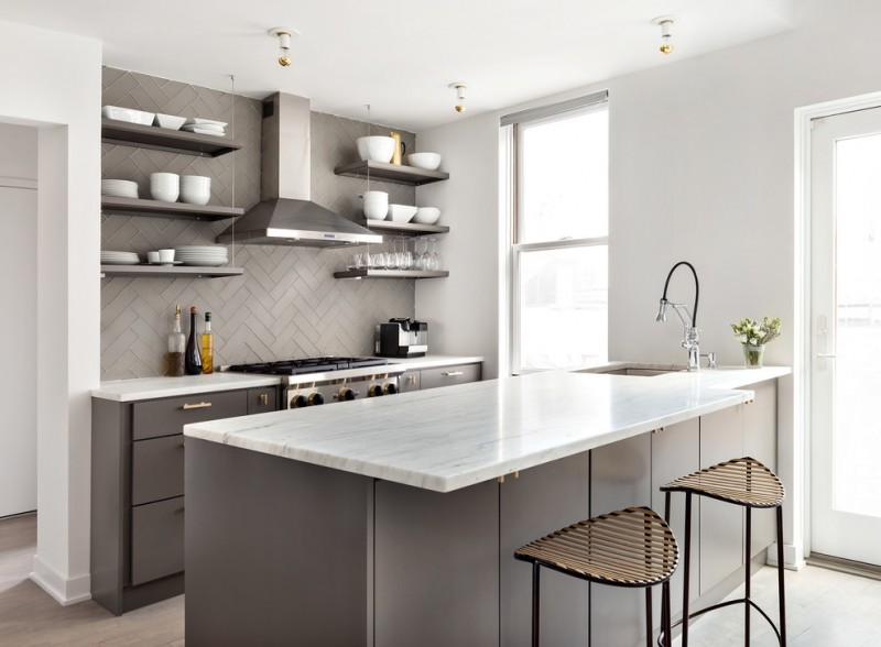 simple and small dominant grey open kitchen concept grey backsplash minimalist open shelves in grey grey breakfast bar with undermount sink white countertop minimalist bar stools