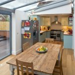 Small Kitchen And Dining Room With Full Skylight Roof U Shape Countertop Light Blue Cabinets Stainless Steel Appliances Rectangular Table A Pair Of Dining Chairs Medium Tone Wood Floors