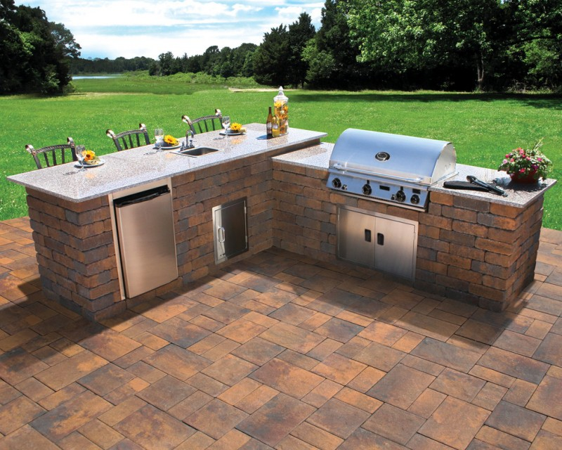 stylish rustic modern outdoor kitchen with BBQ island marble countertop