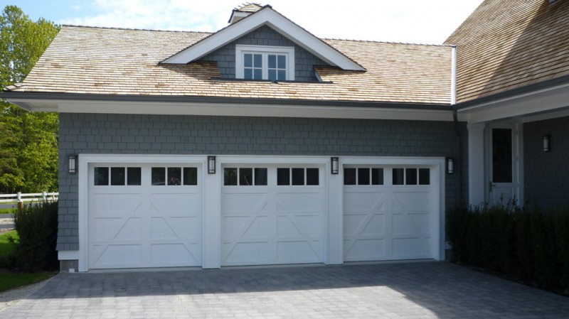traditional garage door idea with pure white finishing