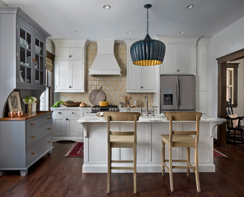 traditional open kitchen idea white island stainless steel appliances white countertop multicolor backsplash dark hardwood flooring system grey dishware storage black dove pendant lamp