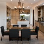 Transitional Kitchen & Dining Room With Dove Black Dining Chairs Glass Top Dining Table Dove Black Countertop Walnut Finish Under Cabinets Stainless Steel Appliances