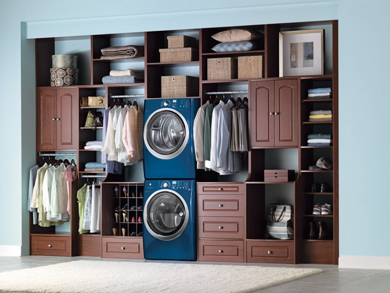 walk in closets idea for laundry room blue finishing washing machine blue finishing drying machine open cabinets drawers open shelves