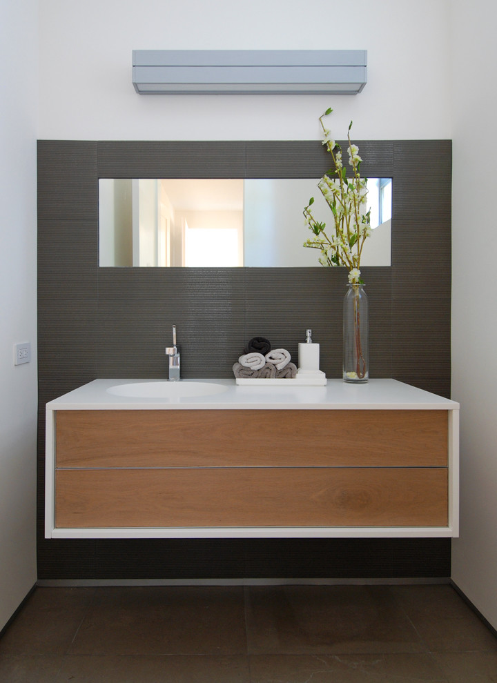 white framed minimalist floating vanity with frameless mirror