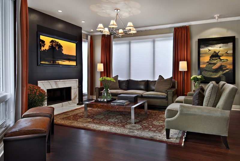 basement family room idea red window curtains white window blinds black doff walls beige walls beige sectional dark brown leather sectionals moroccan area rug with traditional motifs dark toned wood f