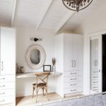 Beach Style Makeup Vanity Dominated By Whitewashed Tone Wood Vanity Chair Wall Mounted Mirror With Whitewashed Round Frame