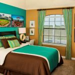 Black Finished Wood Bed Frame With Headboard Turquoise Wall Mustard Wall With Mediterranean Window And Multicolored Window Curtains Multicolored Bedding Treatments