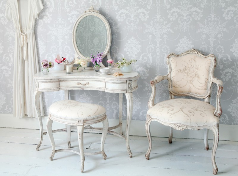chic antique makeup vanity table idea in shabby white antique French style side chair antique French style vanity chair light grey wallpapers