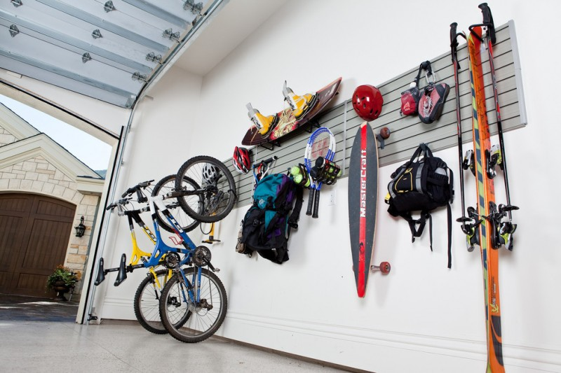 contemporary garage design with sport equipment display