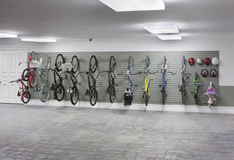 contemporary garage with bike hooks
