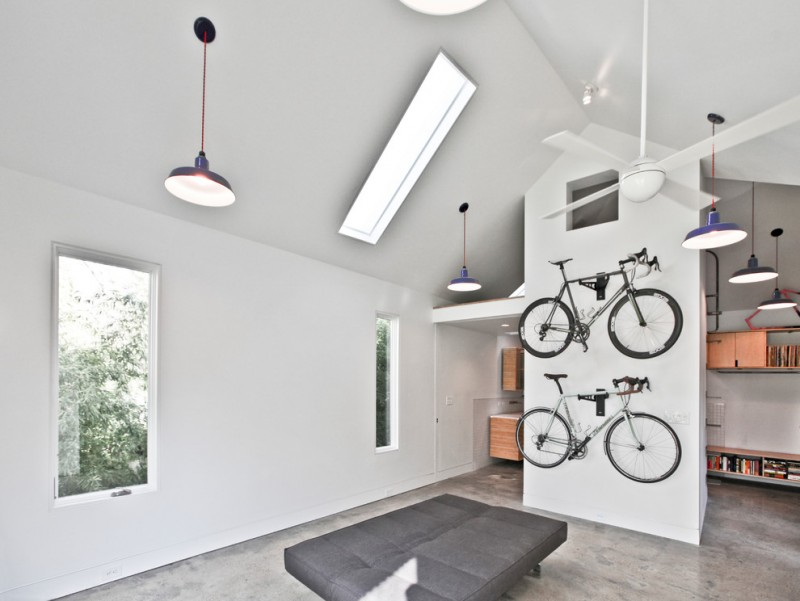 contemporary home library with bike shed decoration