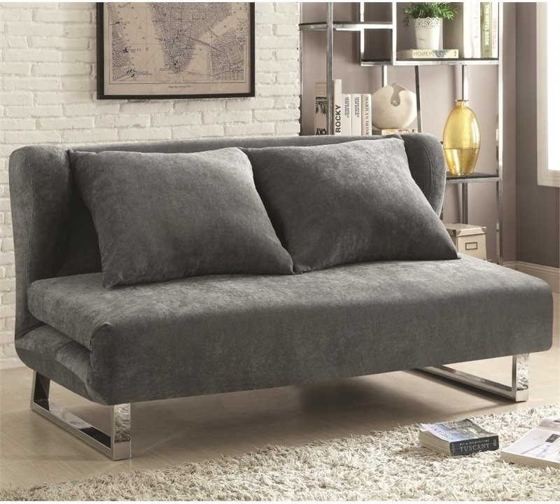 convertible sleeper sofa looks like folded futon in grey