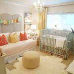 Cool Shabby Baby Nursery Light Turquoise Crib Fluffy White Rug In Asymmetric Shape Light Yelloe Ottoman Side Chair Daybed With Peach Cover And Colorful Accent Pillows Multicolored Wallpapers