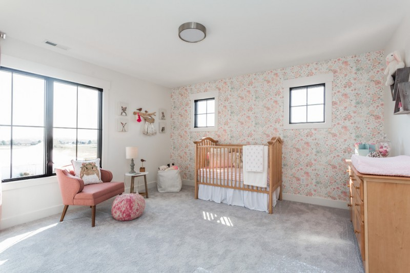 country style nursery idea concrete look like rug bold peach nursery chair wood crib with white fabric skirt wood changing table with under drawer system flower wallpapers