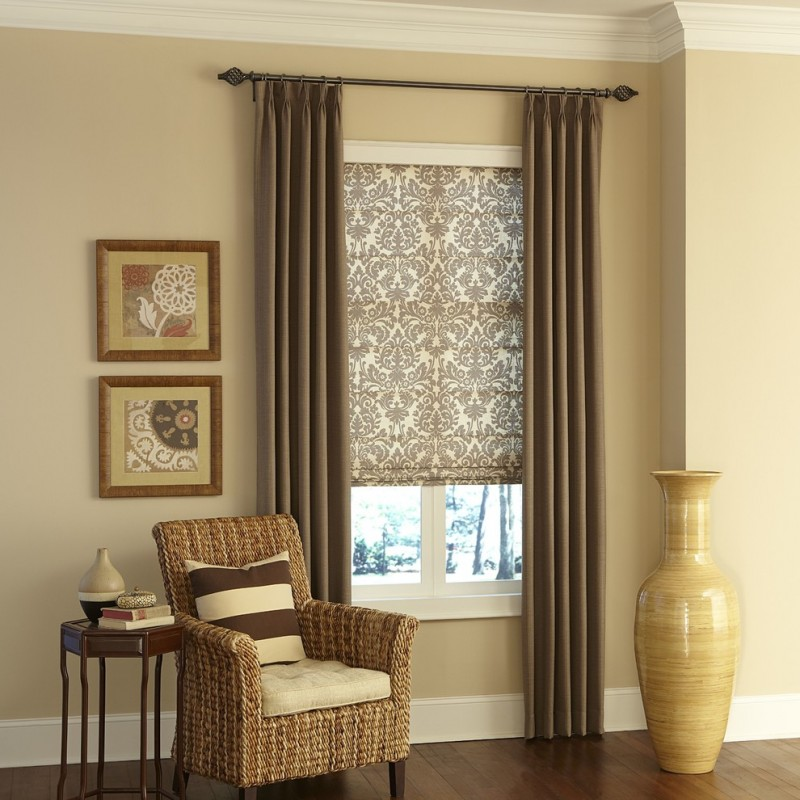 earthy brown basement window curtains window shade with traditional motifs traditional metal curtain rod light cream walls handcrafted corner chair with stripped pillow thin and high legs side table