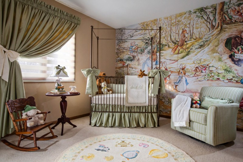 fantasy nursery idea fantasy animal wallpaper wrought iron baby crib with silky green skirt silky green window curtains stripped green nursery chair light centered & rounded rug with cutest animal ima
