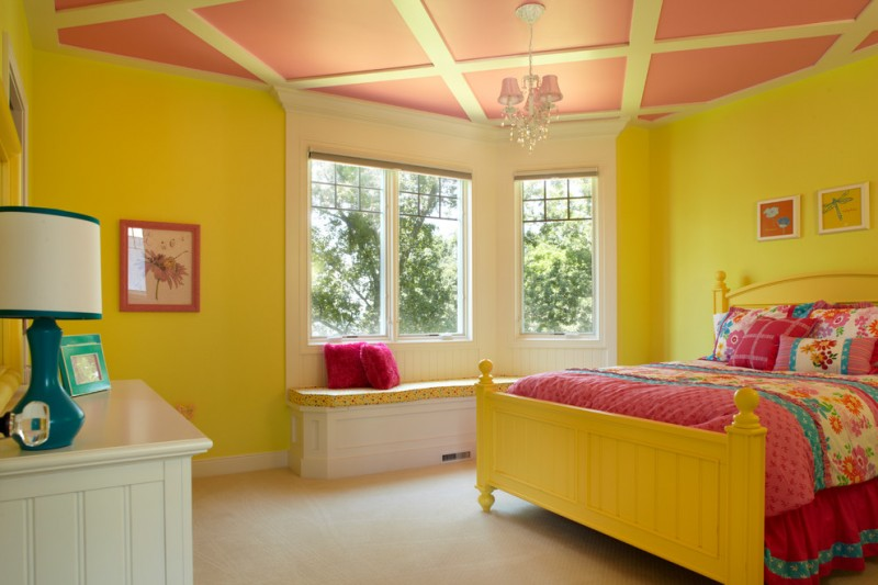 girls bedroom idea mustard walls white bench with mustard top mustard bed frame with headboard deep pink bedding treatment deep pink ceilings with mustard accents