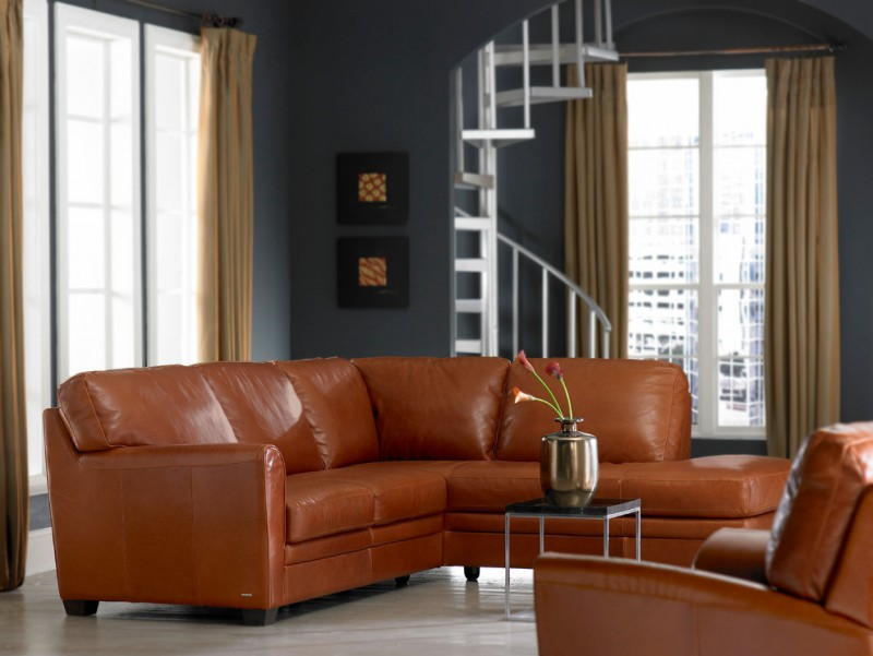 leather sleeper sofa with additional chaise in brown black and square shaped top coffee table with thin construction
