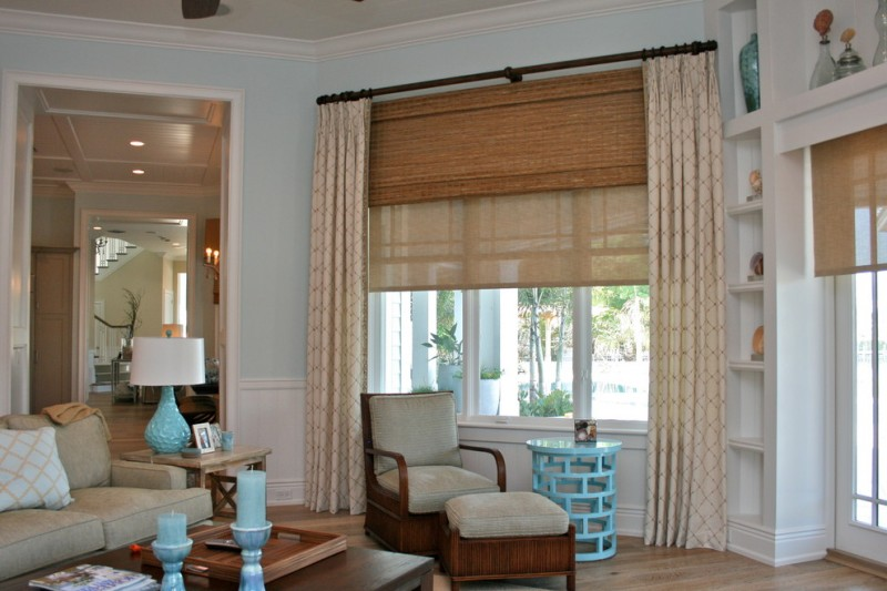 light cream basement curtains with dark brown patterns wood woven window shade rustic curtain hardware blue side table