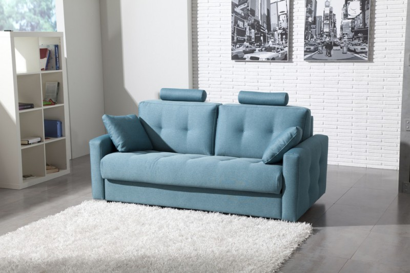 modern blue sleeper couch with head rest arm rest and additional chaise lounge white shag rug idea