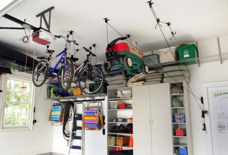 modern garage idea hanging bike storage