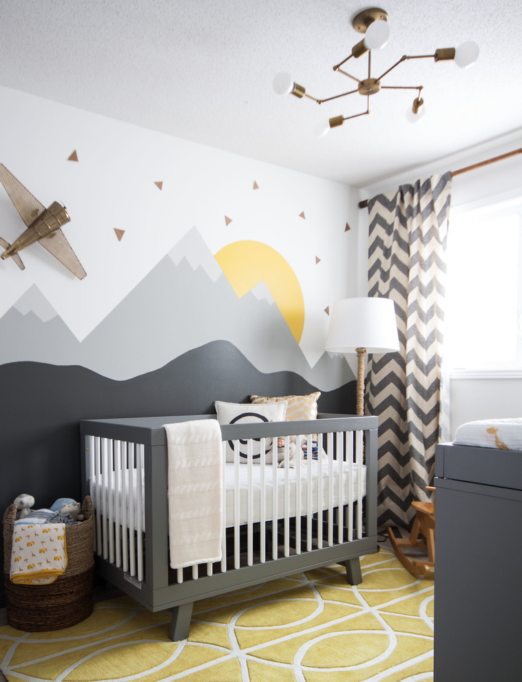 modern nursery idea yellow rug with white line ornaments nature view walls black white curtains with modern patterns grey crib with white railing system