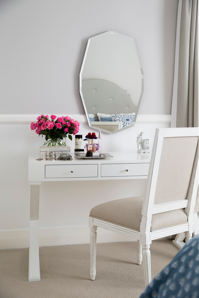 modern white makeup vanity table with separated mirror asymmetric mirror with light grey metallic frames