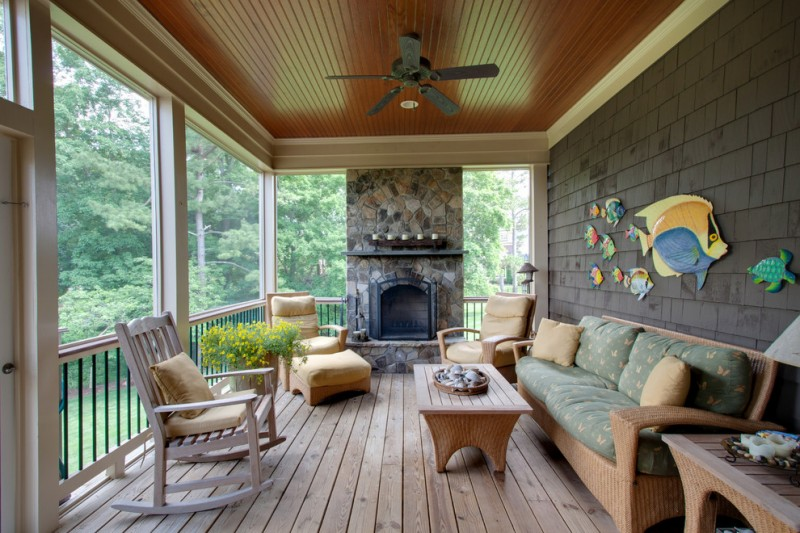 screened farmhouse porch with coastal accessories