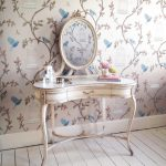 Shabby Chic French Style Makeup Vanity Idea In Soft Soft Toned Wallpaper