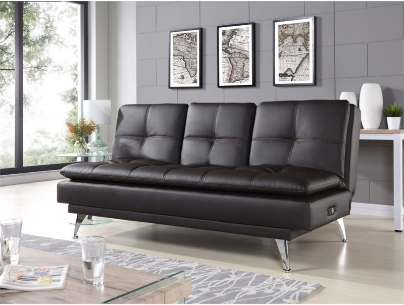 sleeper sofa with tufted black leather showcase