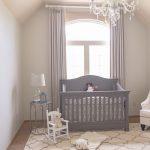 Soft Neutral Nursery Idea Grey Baby Crib Grey Window Curtains Light Grey Walls White Nursery Chair Grey Finished Side Table Small White Chair White Rug With Grey Motifs