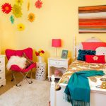 Traditional Girls Bedroom Idea White Bedroom Furniture Set Sunny Mustard Walls Deep Pink Corner Chair Pop Colored Bedding Treatment White Shag Rug