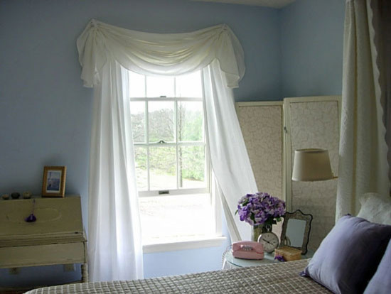 traditional style basement window curtains in white baby blue walls