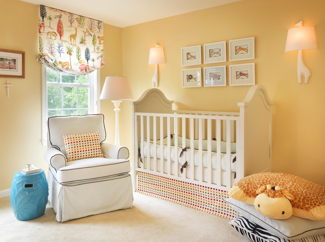 traditional style nursery bright walls white baby crib white nursery chair accented with black lines blue side table window curtain with animal theme