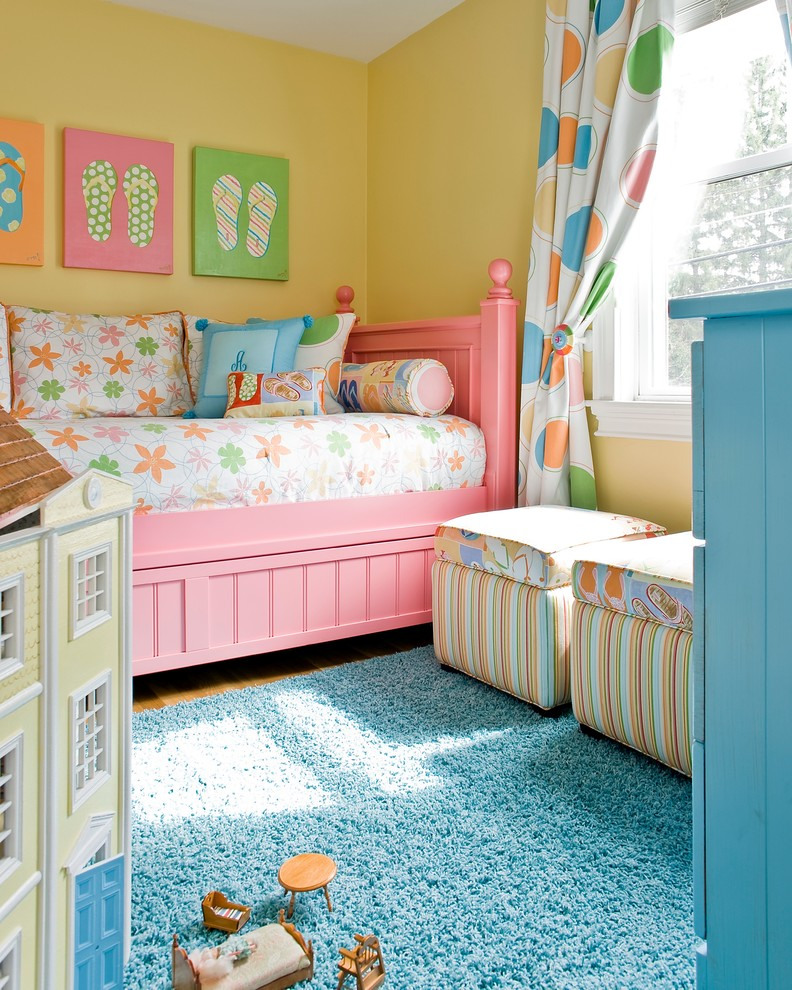 traditional toddlers' bedroom mustard walls with colorful flip flop pictures pink bed frame colorful bedding treatment colorful polka dots window curtains blue shag rug