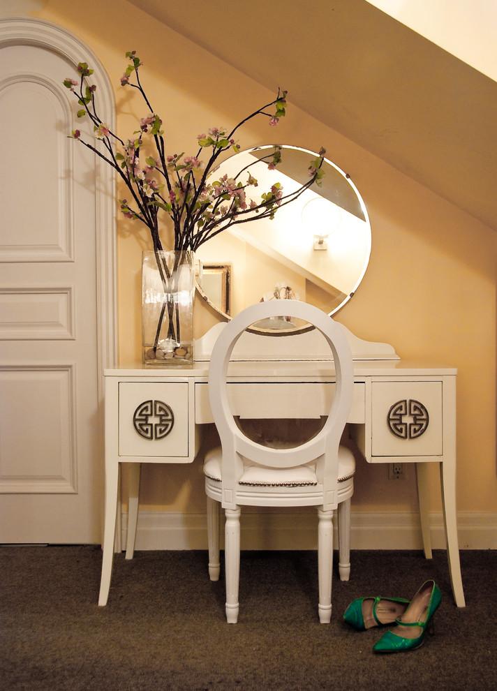 vintage makeup vanity table in white beige painting walls dark carpeted floors