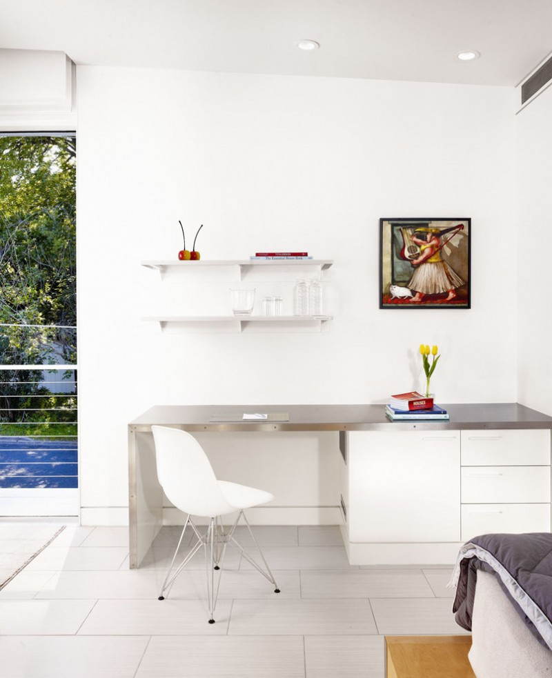 all white modern home office idea white wall shelving idea glossy grey top working desk mid century modern chair in white with chrome legs