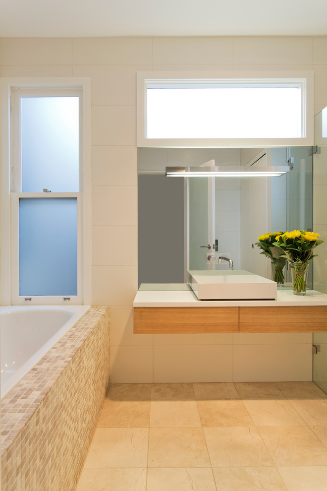 clean line & contemporary bathroom vanity with white laminated countertop wood floating vanity's base modern white sink