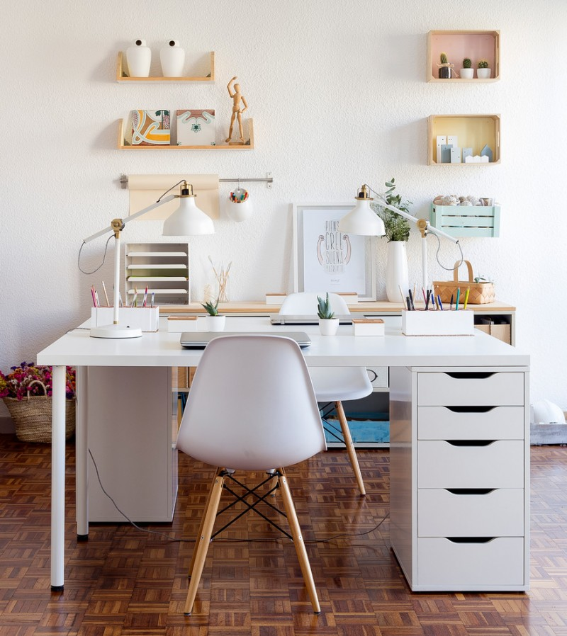 contemporary desk nook idea white working table with drawer system mid century modern side chair with wood legs a couple of study light fixtures some wood wall organizers