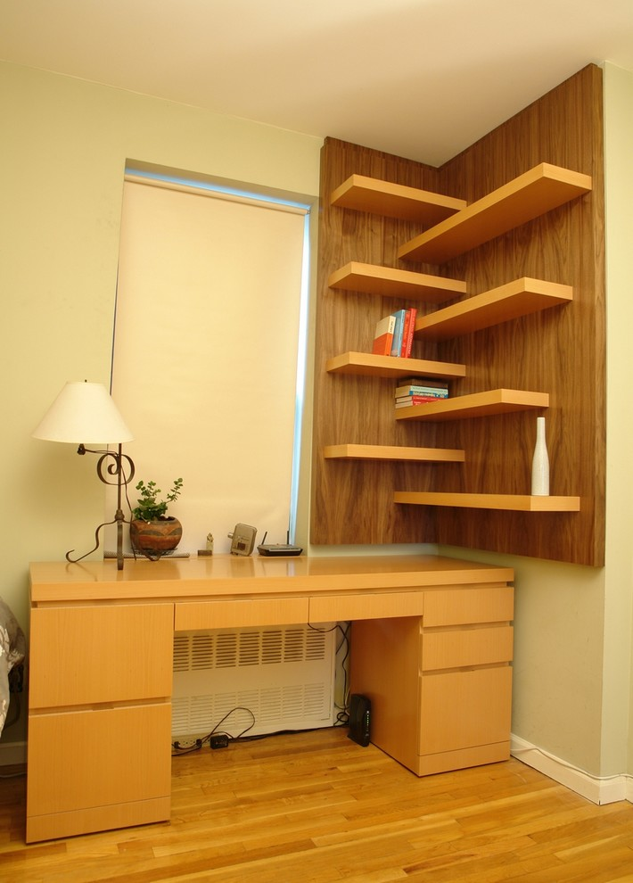 custom walnut working table corner walnut wall shelves idea with cantilevered board