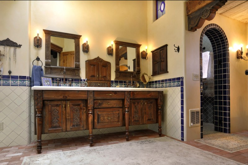 double bathroom vanities shabby handmade carving cabinets and mirrors' frame marble countertop traditional vanity lamps light yellow walls decorative wood windows