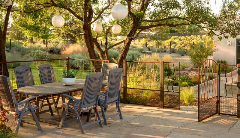 eclectic patio idea grey painted patio furniture large sized paving flooring idea simple lightweight wired fences with wood fence posts