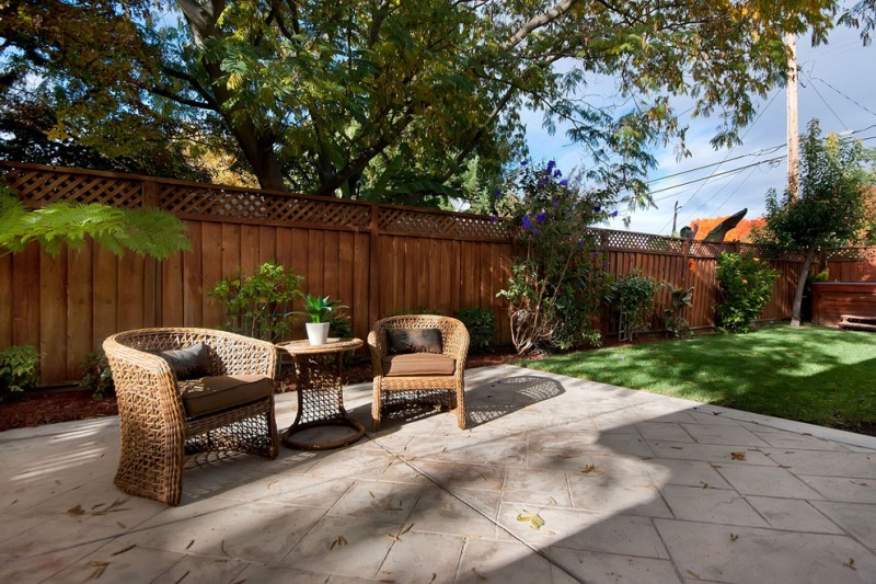 lattice fencing idea for traditional patio rattan made outdoor seats rattan side table with round top