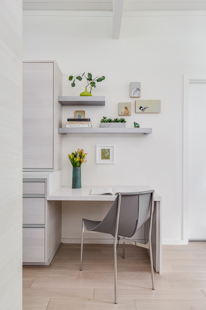 light and quiet working space smaller wall shelves in white white working space integrated with walk in closet leather working chair with chrome legs