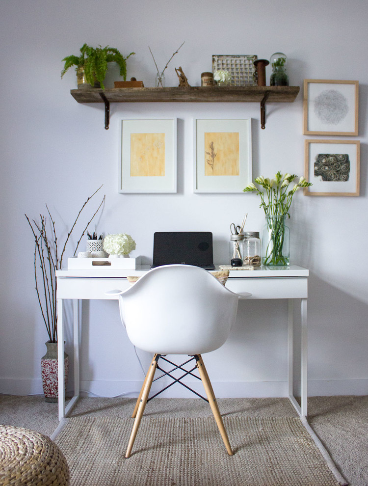 modern home office idea old and shabby wall shelf some wall decorative frames small sized working desk in white mid century modern chair with wood legs