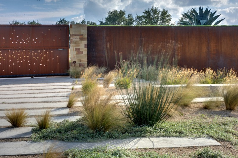 modern landscape idea shabby carbon steel fence with stone fence posts
