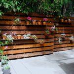 Modern Patio Idea Modern Wood Fences Idea With Clay Burnt Planters Concrete Floors